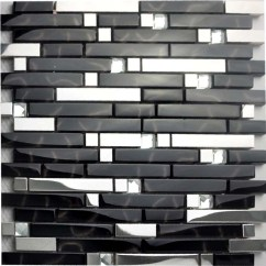 Penny Tile Backsplash Kitchen Butcher Block Islands Black And Silver Metal Glass Mosaic Sheets Crystal Diamond ...
