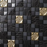 Glass mix Metal Mosaic Tile patterns Metallic Bathroom ...