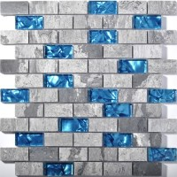 blue glass tile kitchen backsplash subway marble bathroom ...