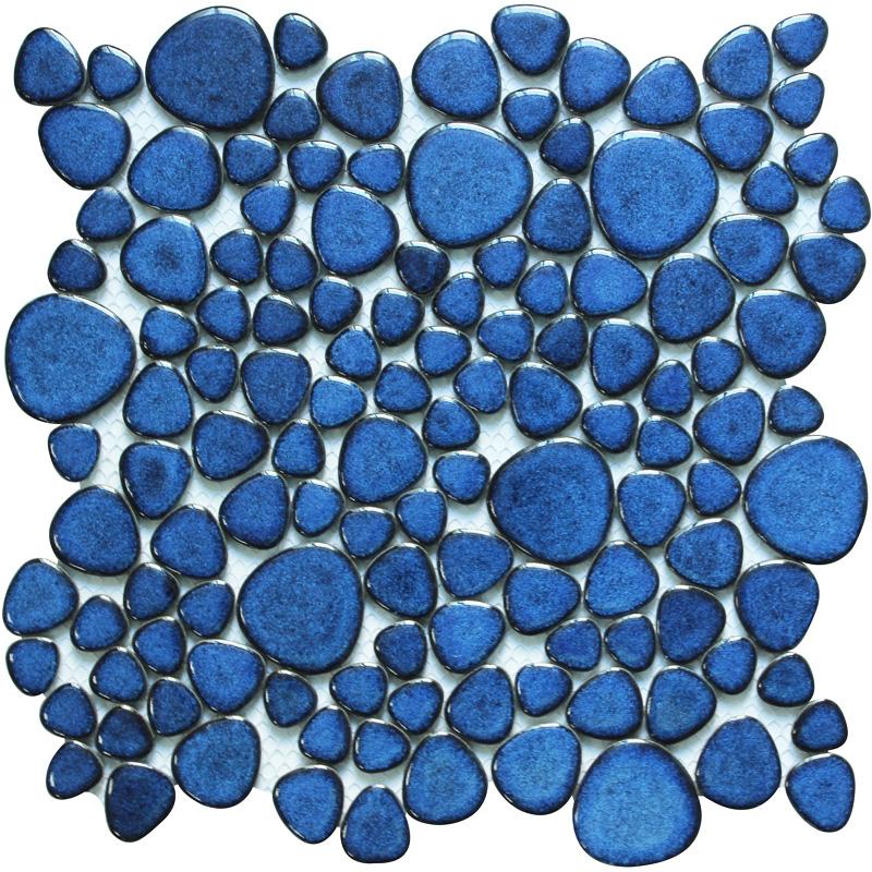 blue porcelain pebble tiles heart shape glazed wall tile mosaic bravotti com