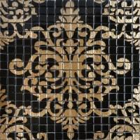 Glass mosaic tile murals black and gold crystal backsplash ...