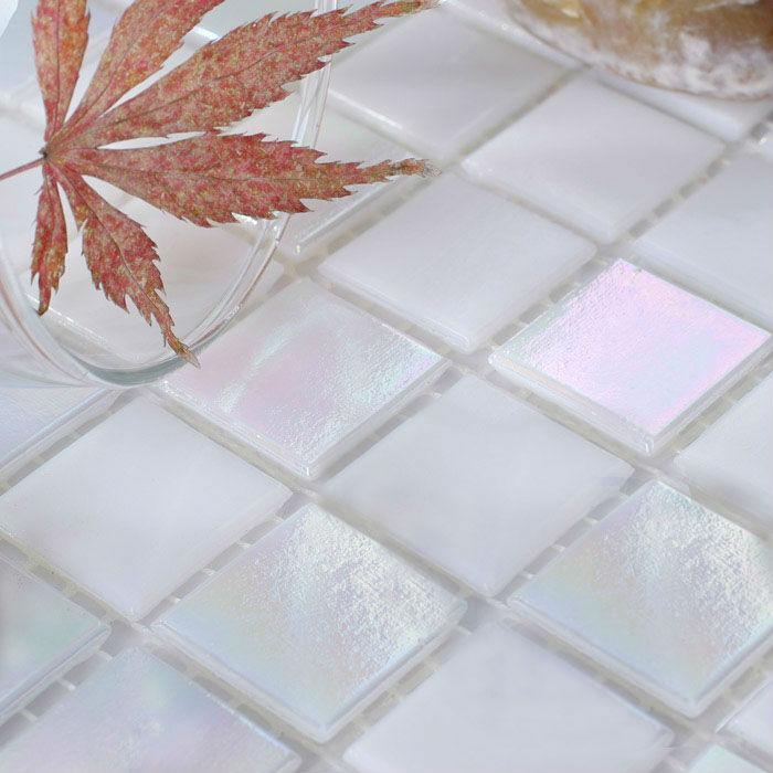 Glass Mosaic Tiles Sheet Iridescent Crystal Backsplash