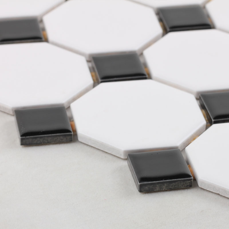 black and white tile kitchen window curtain ideas glazed porcelain mosaic octagonal dot ceramic stickers backsplash tiles bathroom
