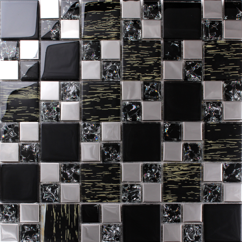 kitchen tile murals led ceiling lighting silver stainless steel black crystal glass backsplash ...