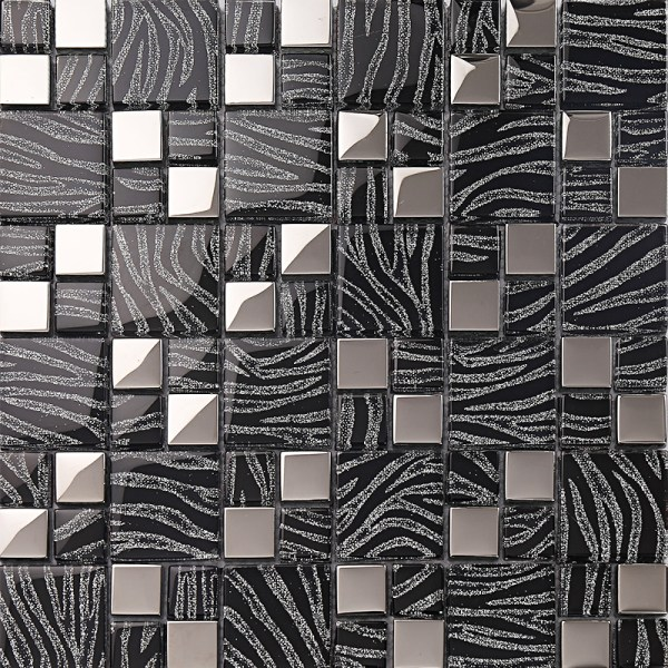 Silver With Black Crystal Glass Mosaic Tiles Plated Kitchen Wall Design Tile