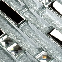 Silver Metal Plated glass tiles for kitchen backsplash ...