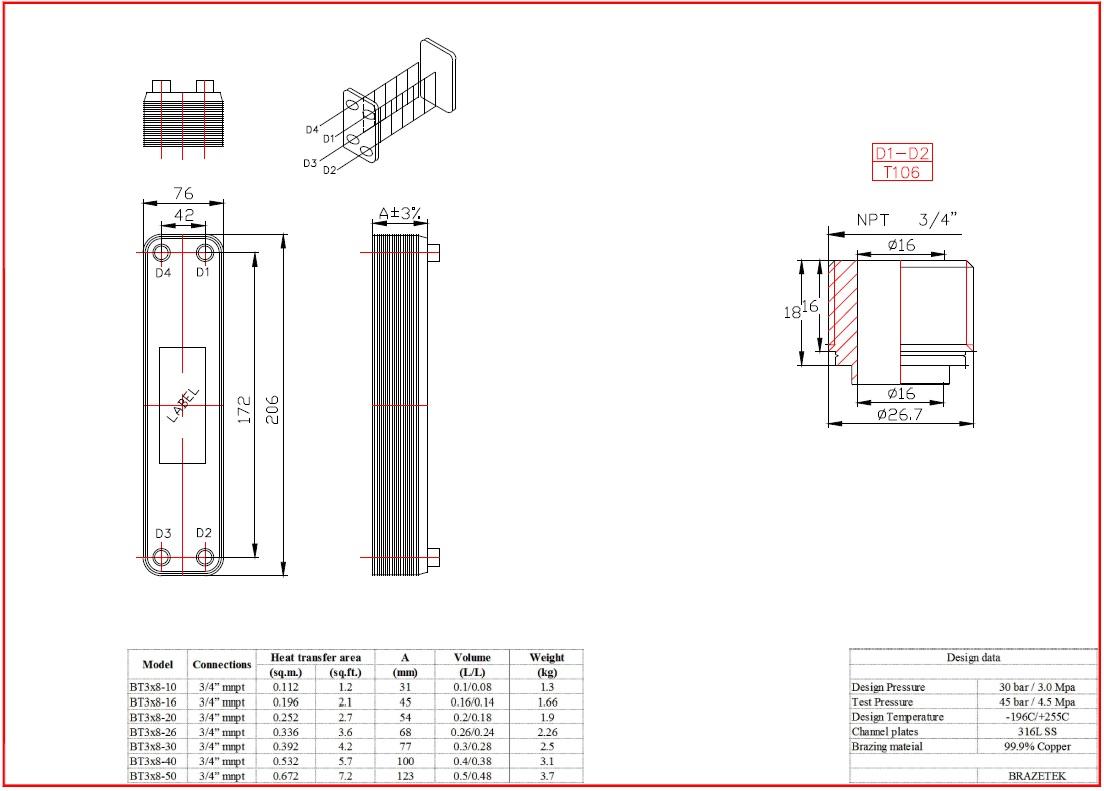 20-plate Heat Exchanger / Chiller (3/4