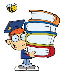 clip_art_image_of_a_school_boy_graduate_holding_a_stack_of_books_with_a_bee_over_his_head_0521-1005-0821-5332_SMU[1]