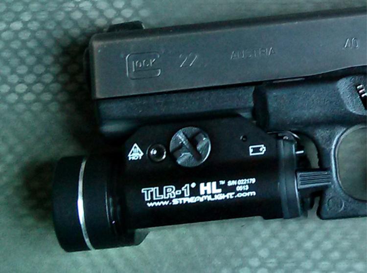 Streamlight TLR-1 HL weapon mounted light on Glock 22.