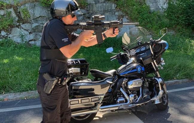 Law Tactical Folder on a motor officer's carbine