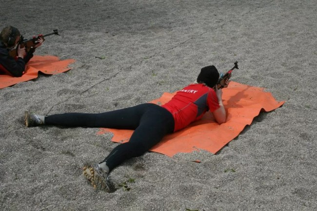 Mary participating in a biathlon
