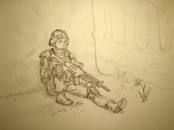 Mary's artwork, showing a Danish infantrywoman during a short break on patrol