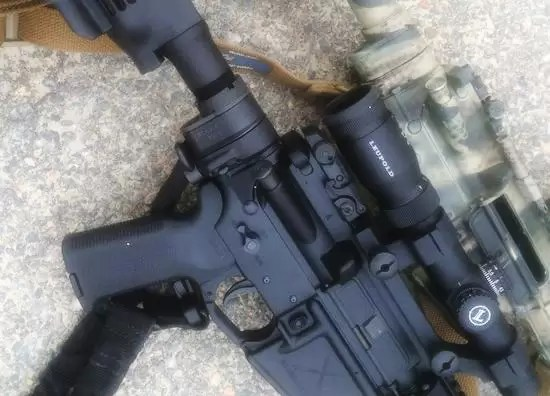 Law Tactical folder Mod3 on 2 different rifles