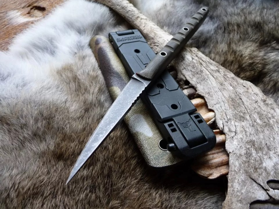 Titley prefers old steel and driftwood for some of his custom knives.