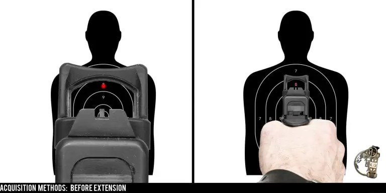 Though slow, one way to pick up the dot on a red dot equipped pistol is to pick it up before extension, then push the weapon out.