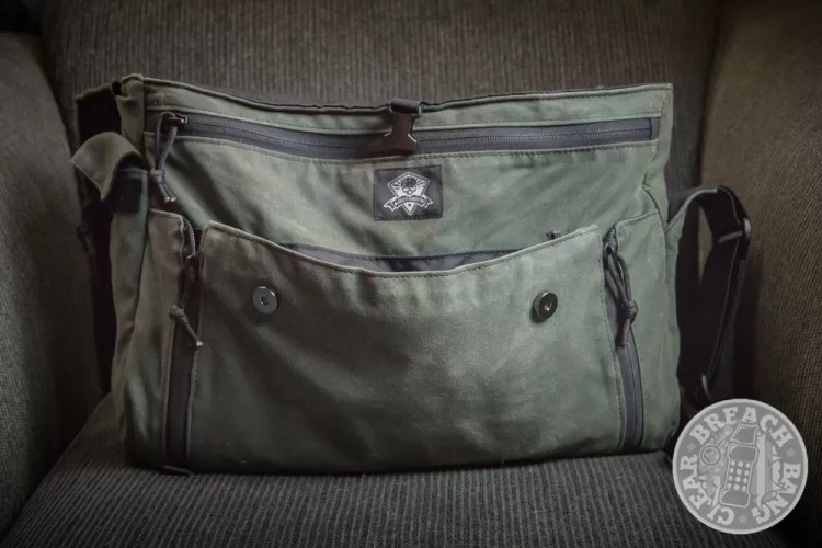 Grey Ghost Gear Wanderer waxed canvas messenger bag for men quick-access front pocket