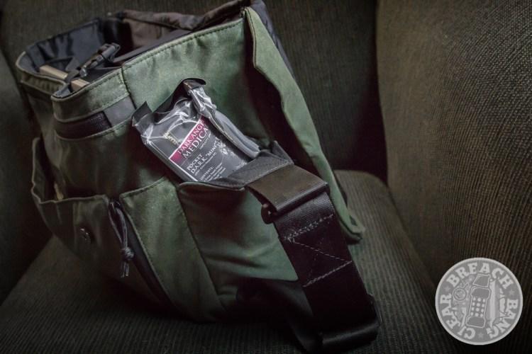 Grey Ghost Gear Wanderer waxed messenger bag for men, end pocket with Pocket Dark Jr. from Dark Angel Medical