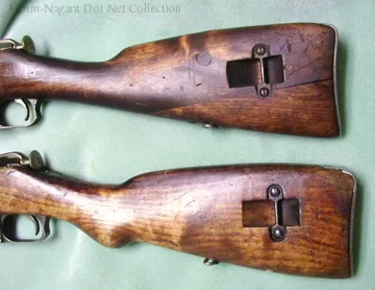 Finnish M39. Straight stock above, pistol-grip stock below.