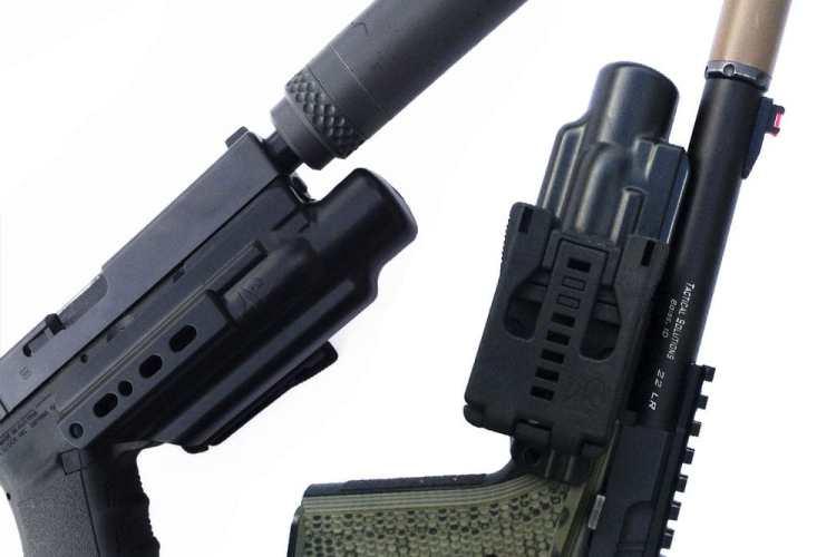 Armordillo Concealment X-Fer V2 suppressor holster for suppressed pistol.