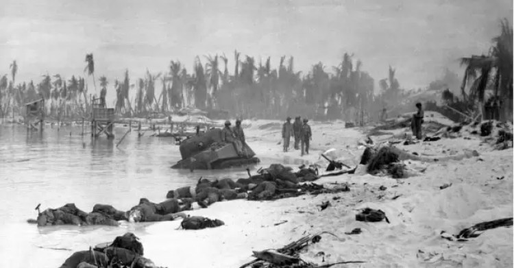 "A Sherman tank named ""Cobra"" off Red Beach 2, Battle of Tarawa."