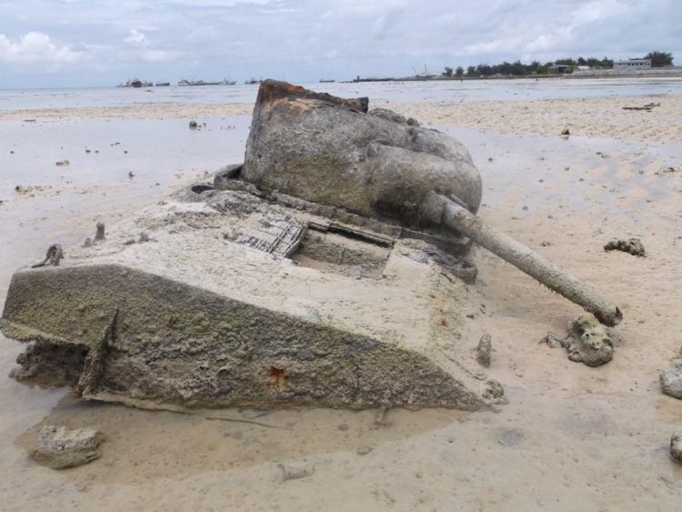 "The remains of Sherman tank ""Cobra"", still sitting on the beach at Tarawa today."