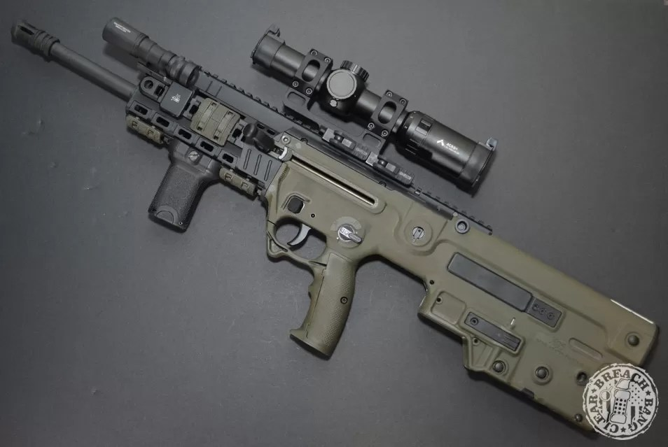 An IWI Tavor X95 with upgrades and accessories