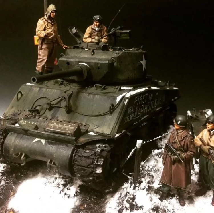 """In this installment of tank week: 5 of the best 1/35 scale and other scale model tank modelers around: M4A3E2 Sherman """"Cobra King"""" at the Battle of the Bulge (First to Bastogne)."""