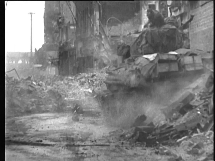 Sherman tanks vs. Panther tank during the Battle of Cologne.