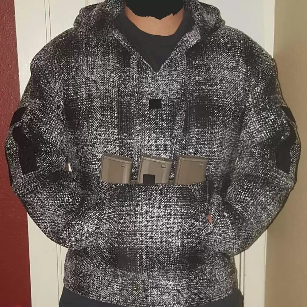 The California Combat Hoodie, aka Tactical Drug Rug, is a jerga Baja style pullover hoodie modernized similar to a combat shirt