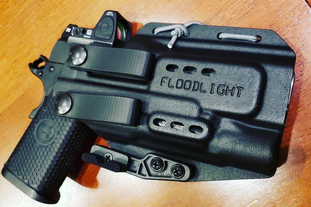 The PHLster Floodlight AIWB holster (appendix carry holster) as used by Presscheck Consulting.