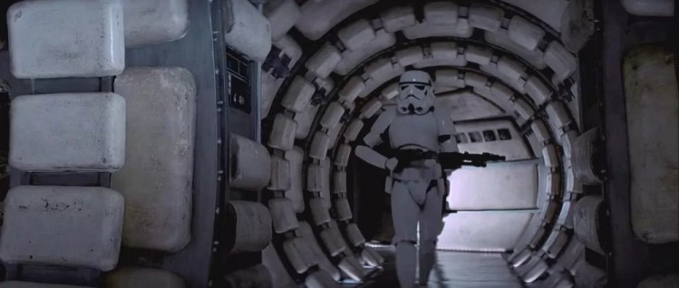 Guns of Star Wars - a storm trooper investigates the Millennium Falcon carrying what would seem to be an open ground weapon.