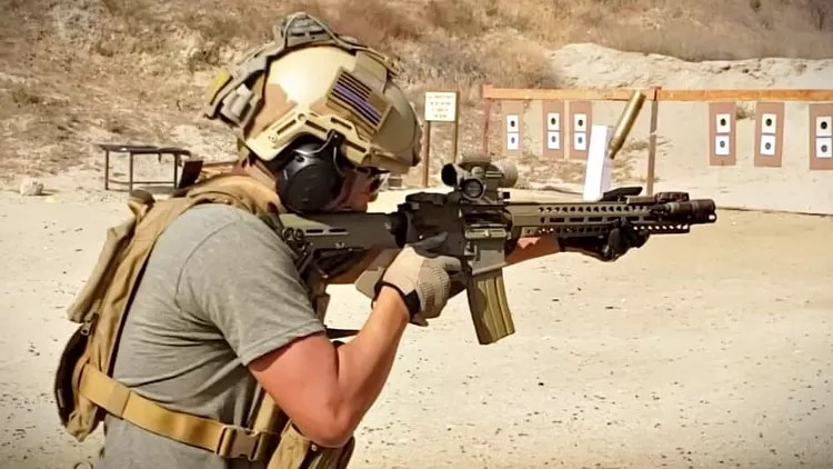 Andrew Ha shooting a Special Edition Sentinel Elite AR Rifle.