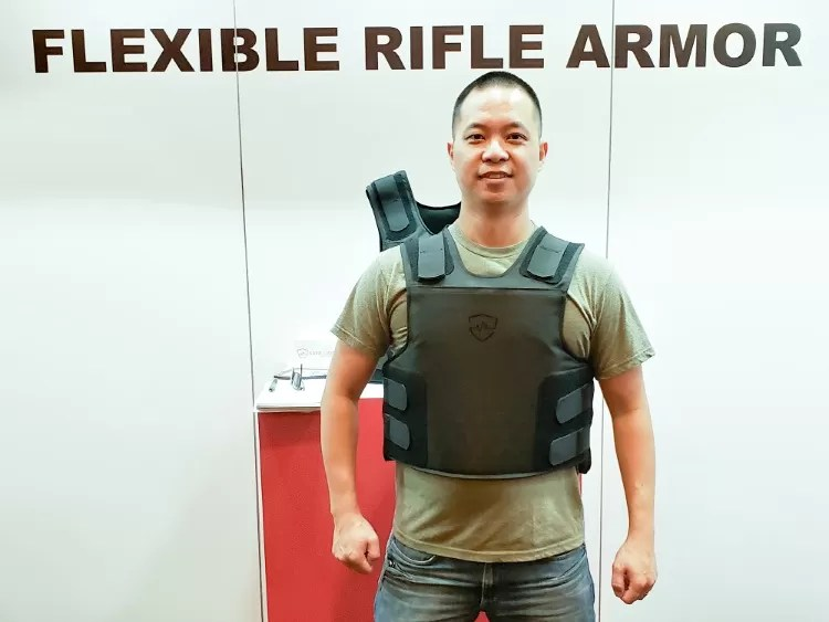 Flexible Rifle Armor System (FRAS) from Safe Life Defense. It looks like a traditional vest...that can stop 5.56x45 & 7.63x39!