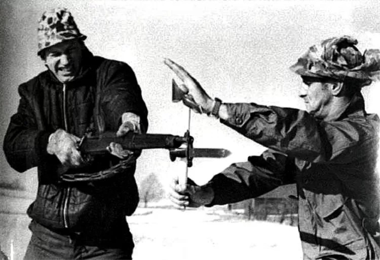 Peter LaGana Demonstrating blocking a bayonet thrust using a Vietnam Tomahawk. Photo courtesy of Bobby Branton.