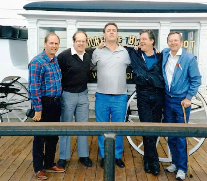 Bob Bayer, Earl Gerheim, Gustav Hasford, Gordon Fowler and Steve Berntson at the 1988 Snuffies reunion