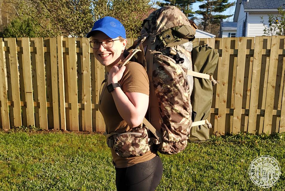 Melissa Wearing The Garmin Forerunner 35 Along With Her Deadfall 65 Pack