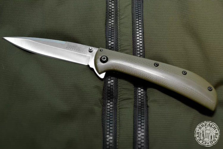 Olive drab EDC items - The Kershaw AM-4 is an assisted-opening flipper knife.