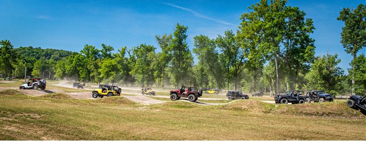 Jeeps on a trail at Loretta Lynn Ranch during TrailJam 2020.