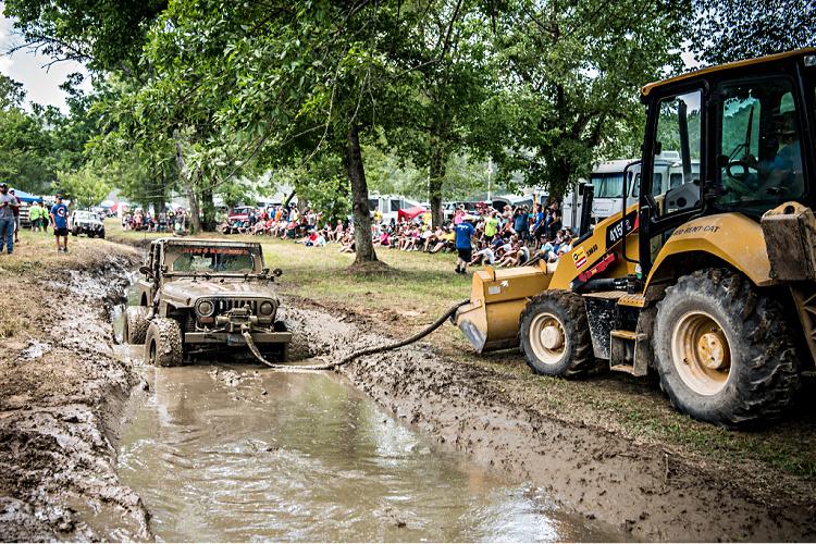 Jeep stuck at mud bog event at Loretta Lynn Ranch during TrailJam 2020.
