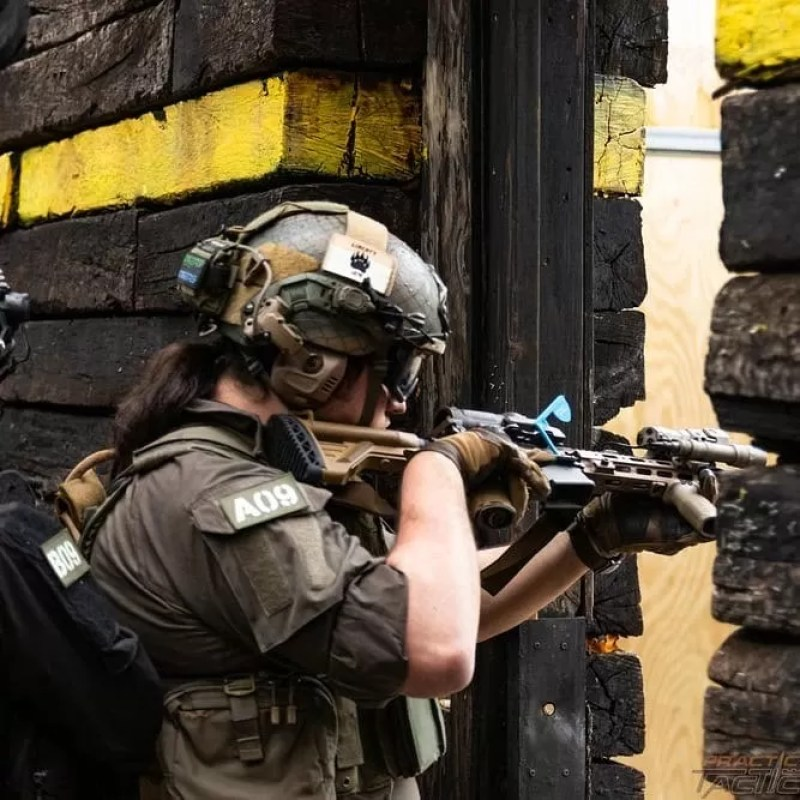 Offset sights for close quarters battle. [DARC informed HK416 with MAWL, Aimpoint Acro, Elcan SpectreDR, Surefire Scout, and other accessories configured for CQB.]