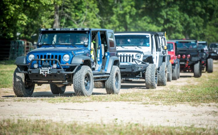 A lineup of Jeeps at the 2020 TrailJam at Loretta Lynn Ranch.