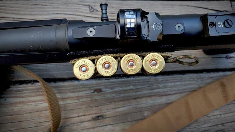 Hornady Black 12-gauge shotshells on shotgun