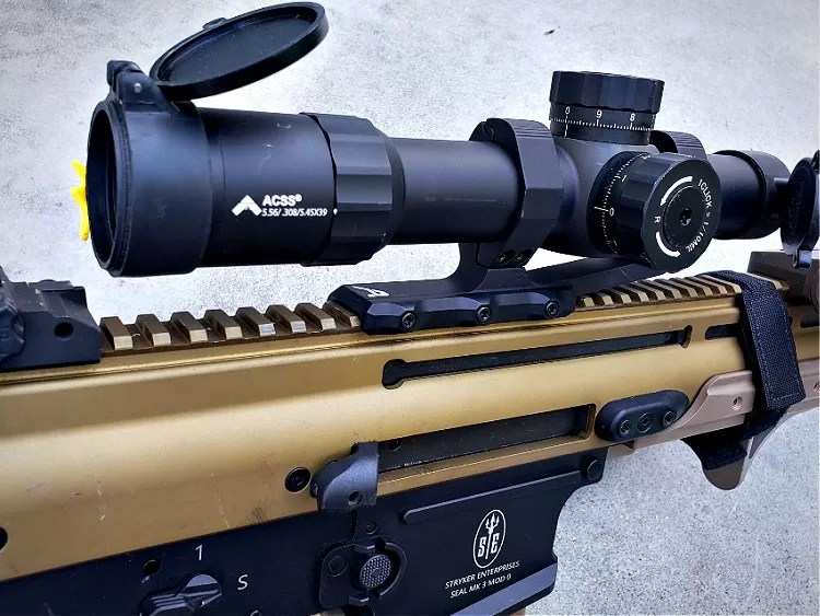 SCAR 17S Optic Primary Arms Platinum 1-8x24 ACSS and Aero Precision Ultralight 34mm Scope Mount