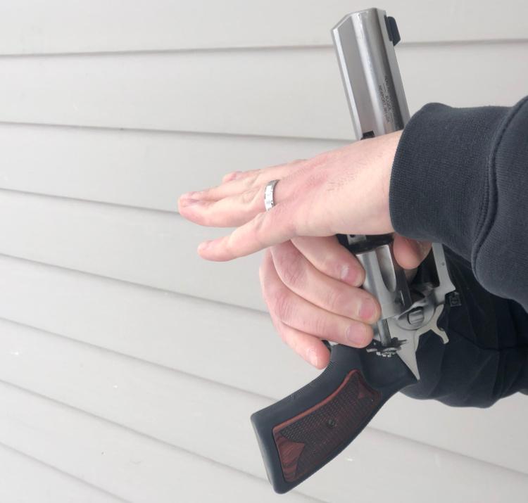 left hand revolver reload, ejector rod