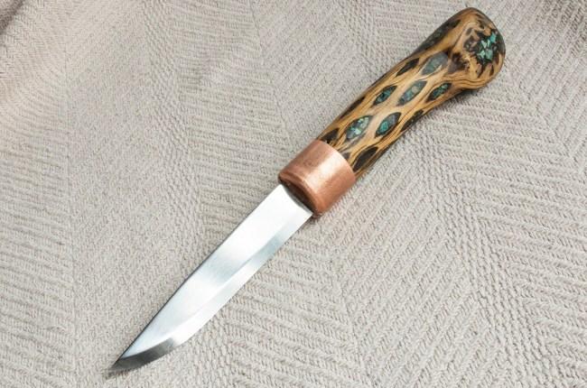 Handmade cholla wood handle knife