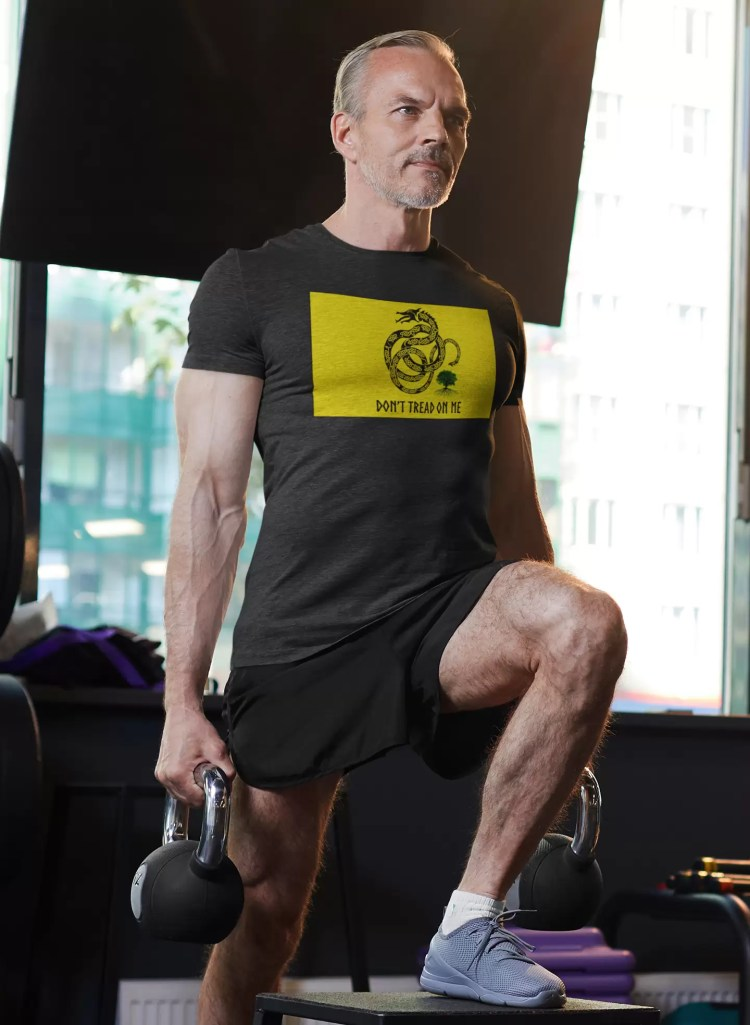 Jormungandr (of Norse myth) replaces the rattlesnake in this Gadsden shirt worn in the gym.