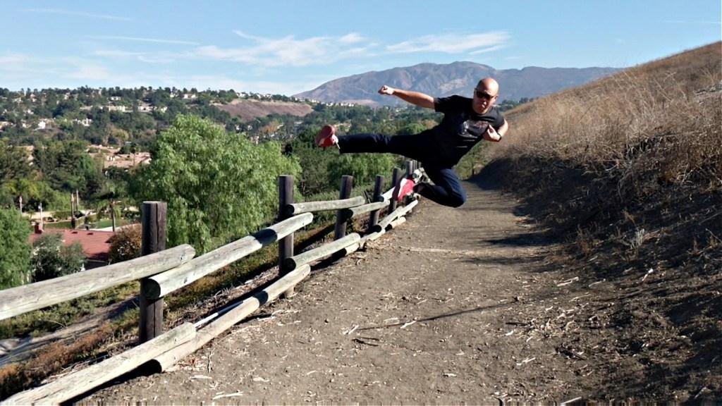 Patrick Vuong action shot wearing 5.11 pants.