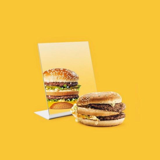 burger in a mirror