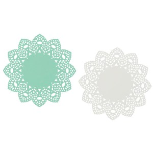 Now Designs Aqua White Metal Doily Trivets Set