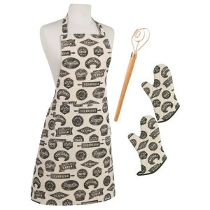Now Designs Bakeshop Apron Oven Mitts Bread Whisk Bundle